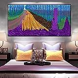 Obras de arte del pintor famoso pintura al óleo de primavera verde sobre lienzo arte mural paisaje carteles e impresiones decoración de la sala de estar pintura abstracta 50X100CM sin marco