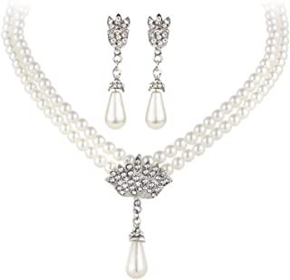 Bridal Bridesmaid Wedding Jewelry Sets for Women Girl Necklace and Earrings Set Drop Simulated Pearl