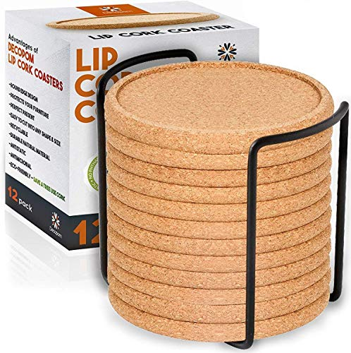 Cork Coasters with Lip for Drinks Absorbent | 12 Set 4 Inch Thick Rustic Saucer with Metal Holder Heat & Water Resistant | Best Reusable Natural Round Coasters for Bar Glass Cup Table