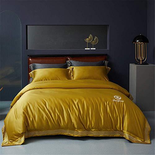 227 - Juego de ropa de cama de satén 100% poliéster y seda con insignia bordada, 200 x 230 cm, color rosa claro, Microfibra, Amarillo, 150 x 200c m