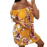 FRAUIT Boemia Abito Premaman Donna off Spalla Abiti Estivo Casual Stampa Floreale Maxi Dress Plus Size Allattamento al Seno Infermiera Vestito da Donna Vestiti Larghi Camicia da Notte
