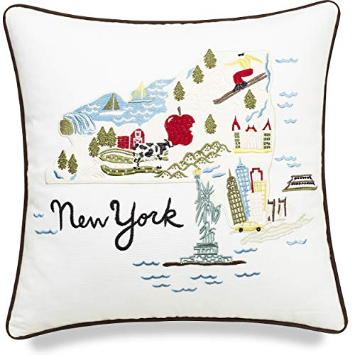 EURASIA DECOR DecorHouzz Pillow Covers Newyork State/City Map Pillowcase Embroidered Cushion Cover Birthday Gift Graduation Gift New Home Gift 18