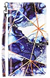 Phone Case for Moto G Power 2021, Flip Phone Cover Leather Wallet Magnetic Closure Credit Card Slot Holder Kickstand Heavy Duty Shockproof Protective with Big Wrist Strap Dark Blue Marble