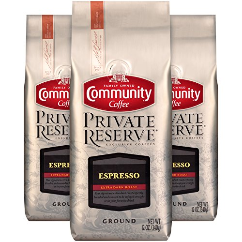 Community Coffee Espresso Blend Extra Dark Roast Gourmet Private Reserve Ground 12 Oz Bag (3 Pack), Full Body Rich Taste, 100% Specialty Grade Arabica Coffee Beans