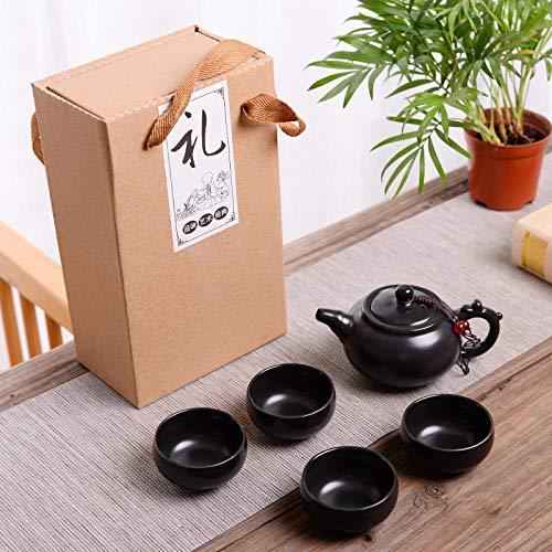 Ksnrang Set da tè in Ceramica Smaltata Opaca DING Set da tè Regali promozionali per Le Vacanze Set da tè Logo Personalizzato venderà Piccoli Regali-Una pentola e Quattro Tazze-pentola del Drago-Nero