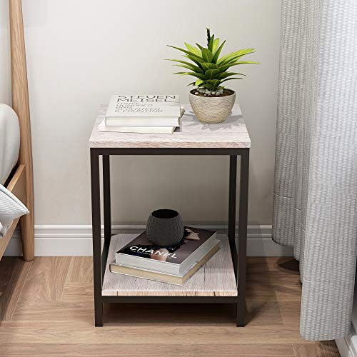BOFENG End Table Square Side Table Night Stand Coffee Table with 2-Tier Storage Shelf, Wood Look Accent Metal Frame Modern Furniture, Black+White Oak