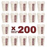 200 Vasos Desechables con Tapa + Agitadores de Madera. Vasos de Cartón 200ml / 8oz para el Café, el Té, Bebidas Calientes y Frías. Café para...