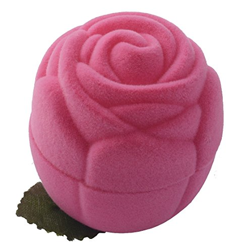 EYS JEWELRY® étui à bijoux pour bague 43 x 43 x 47 mm velours rose boîte à bague écrin emballage cadeau floraison des roses