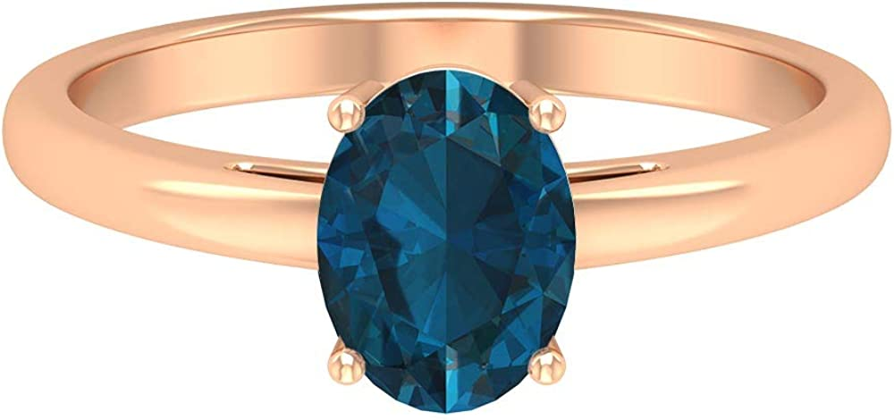 1.6 CT London Blue Topaz Solitaire Ring, Gold Engagement Ring (8X6 MM Oval Cut London Blue Topaz), 14K Gold