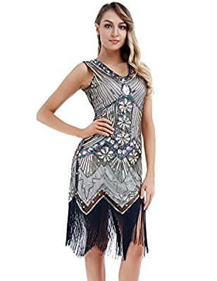 Women's Vintage Cocktail Swing Dresses 1920s V Neck Beaded Fringed Great Gatsby Flapper Dress