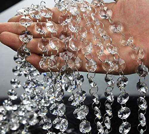 VOVOV 10 Pack (1000CM/30.5FT) Beaded Trim Clear Crystal Garland Chandelier Octagon Beads Chain
