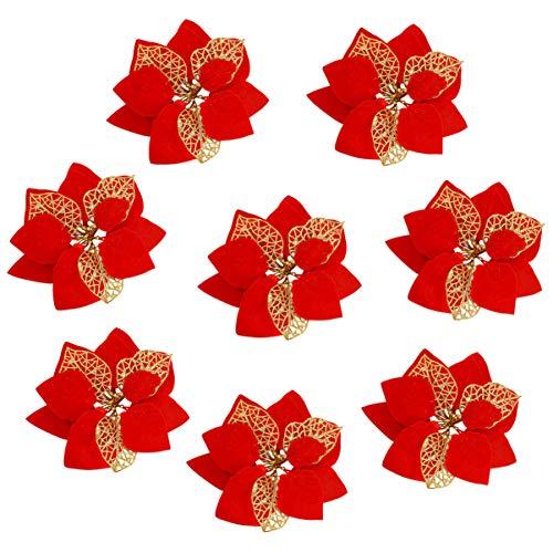 EXCEART 12 Stück Künstliche Glitzer Weihnachtsstern Weihnachtsblume Ornamente Glitzer Weihnachtsbaum Weihnachtsstern Weihnachtskranz Hochzeitsdekorationen