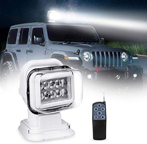 Suparee LED Rotierende Fernbedienung Arbeiten 360º Suchscheinwerfer für den Schutz vor SUV, Boot, Haus, Feld, Notbeleuchtung für den Garten Weiß 12V 24V 50W