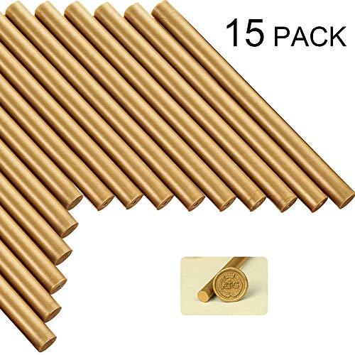 hugttt 15 Stück Heißklebepistole Siegelwachs Sticks für Wachssiegel Stempel, Bronze, ideal für Hochzeitseinladungen, Briefe, Karten, Umschläge, Weinpakete, Geschenkverpackung