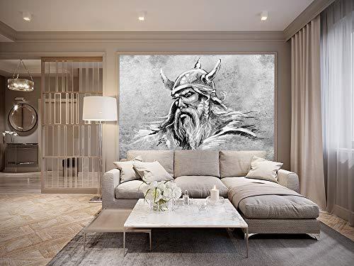 Bilderdepot24 Fototapete selbstklebend Wikinger II, Tattoo Art - schwarz weiß 150x100 cm | Moderne Wand-deko Dekoration Wohnung Wohnzimmer Wandtapete | 501179
