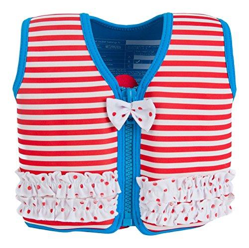 Die original Konfidence Unisex-Kinder Schwimmweste,  Mehrfarbig (Marthas Red Stripe & Frills), 4-5 Jahre