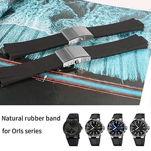 S`good Horlogebandjes Waterdichte Horlogeband Rubber Siliconen Band Voor Horloge Duiken Sport Horlogeband Zwart Voor AQUIS Armband 24 * 11mm Dubbele Gesp