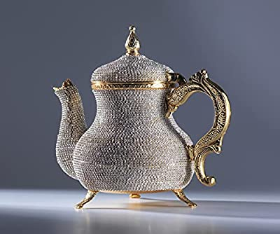 """DEMMEX Handcrafted Stunning Turkish Moroccan Arabic Decorative Gold Teapot Pitcher Pot Kettle with Crystals Rhinestones, 2.6lb, 8x7"""""""