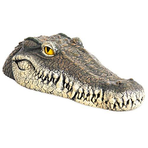 Floating Crocodile Head Water Decoy (13 x 6 x 3 Inches) - Garden or Pond Art Decor for Goose, Predator, Heron Control