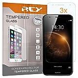 REY 3X Protector de Pantalla para Huawei Ascend G8 / GX8, Cristal Vidrio Templado Premium