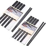 Palillos para comer con 10 pares de dos estilos – Japonés palillos chinos negro Alloy Chopsticks palillos para vajilla asiática reutilizables palillos lavables para lavavajillas