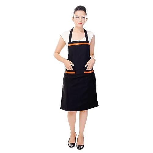 Switchon Waterproof Kitchen Polyester 30lx23w Inch Apron New Style, Black Orange
