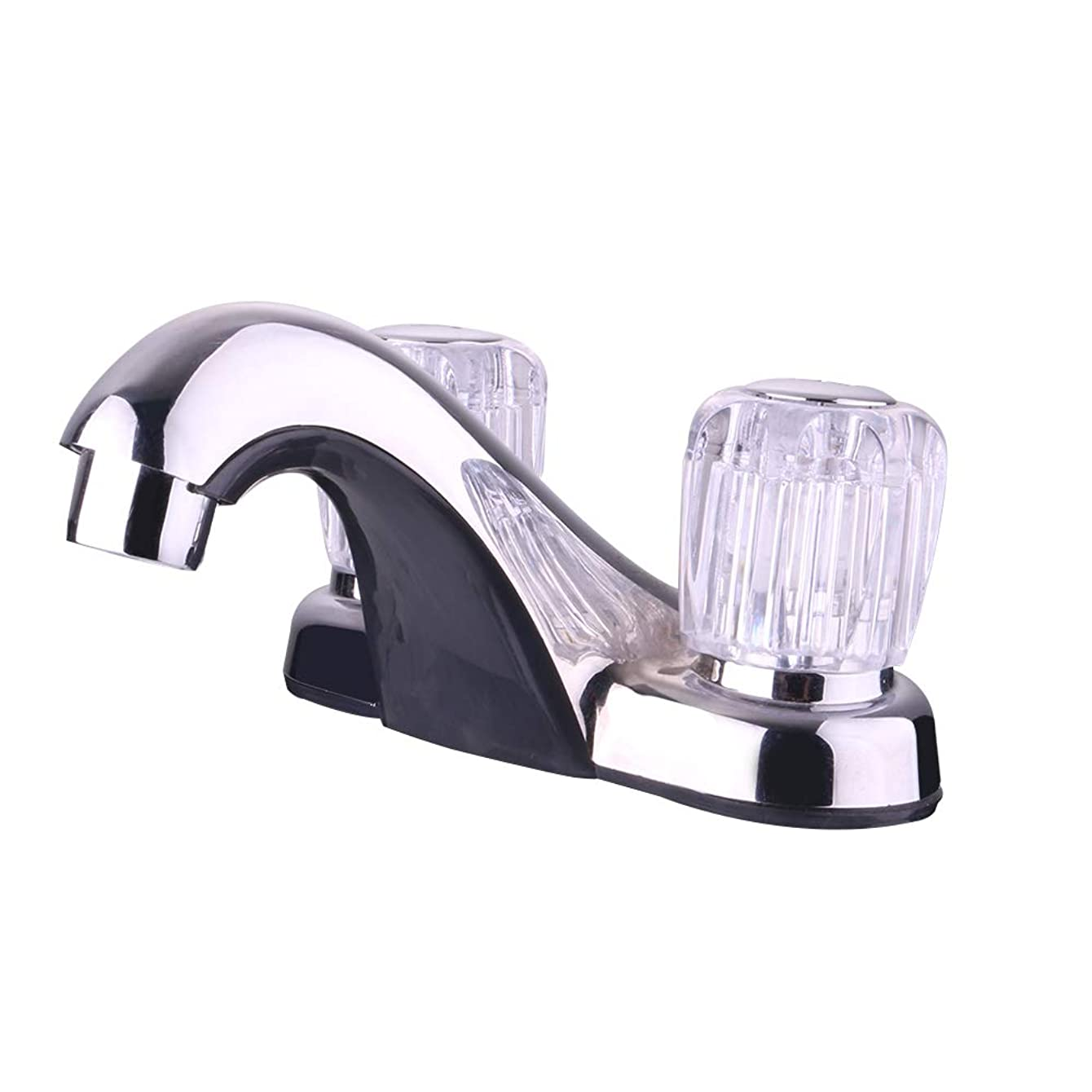 RV Bathroom Sink Faucet With Goose Spout Crystal Knob Operation for Recreational Vehicles, Travel Trailers, Motorhomes, and 5th Wheels
