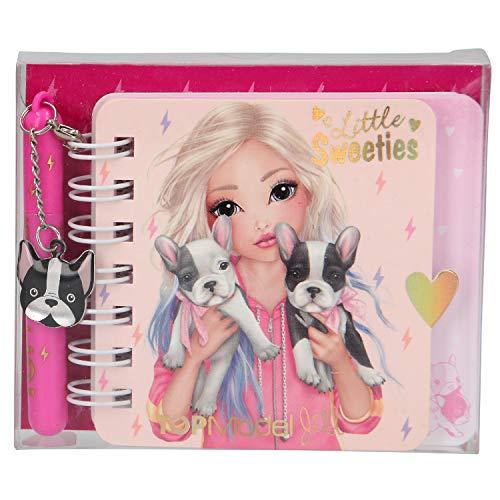 Mini Notizbuch mit Kugelschreiber, TOPModel Hund, ca. 9,2 x 7,7 x 1,4 cm, sortiert
