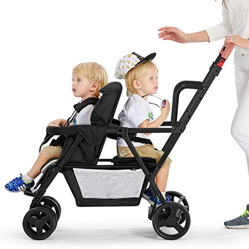 BrightFootBook Geschwisterwagen 2 In 1, Geschwister Kinderwagen Baby Buggy Zwillingsbuggy mit Einhand-faltmechanismus, Mehrere Sitzmöglichkeiten, Sitzen und Stehen, Bis zu Je 15kg