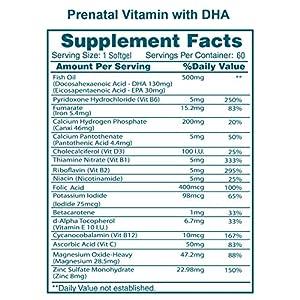 Prenatal Vitamin with DHA & Folic Acid – 60 Veggie Capsules – DHA Supplements with Prenatal DHA Including Vitamins A, C, D, E, B6, B12, Folic Acid, Omega-3 & ADH.