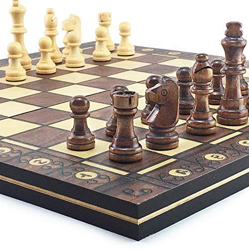 HEZHANG Schachspiel Vorstand Für Kinder Erwachsene Supermagnetische Holzschach Backgammon Checkers 3 In 1 Schachspiel Antike Schach Reise Schach Set Spielbrett Spielzeug Geschenk,34 X 34 Cm.