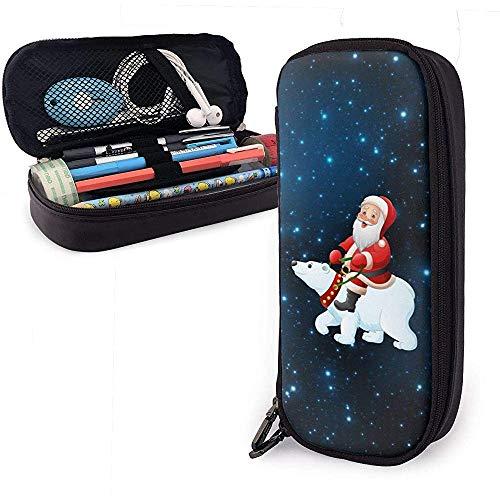 Estuche de cuero duradero de dibujos animados Santa Claus montar oso polar multifunción bolsa cosmética lápiz bolsa organizador papelería
