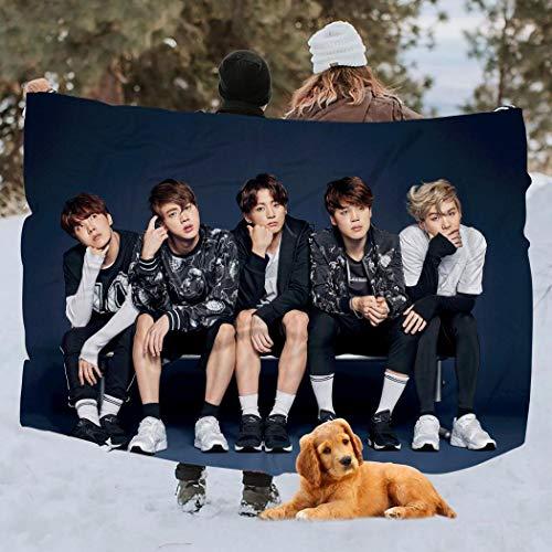 Crazy fish BTS Manta para el hogar, manta de viaje, manta de picnic, Blanco, Twin 60x80inch