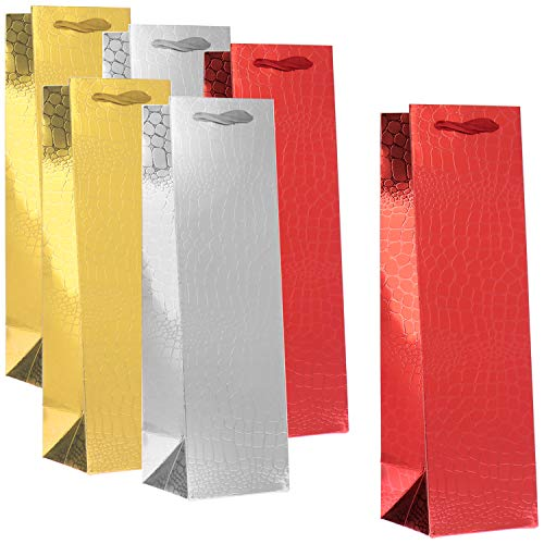 COM-FOUR® 6x geschenkzakje in verschillende kleuren - geschenkzakje voor wijn- en champagneflessen - fleszakje voor kerst, kerstman en verjaardag (06 stuks - rood/zilverkleurig/goudkleurig)