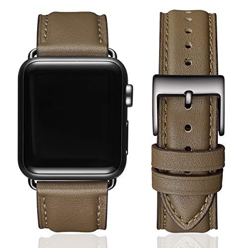 SUNFWR Lederbänder für Apple Watch Armband 44mm 42mm 40mm 38mm,Männer Frauen Ersatz-Echtlederband für iWatch Serie 6 5 4 3 2 1,SE,Sport,Edition(42mm 44mm,Taupe & Schwarz)