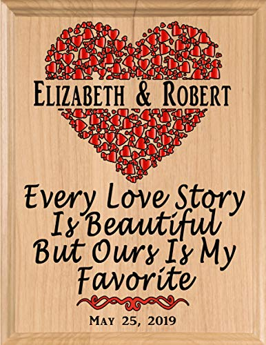 Broad Bay Personalized Anniversary Plaque Wood Gift Sign for Her or Him Every Love Story Made in The...