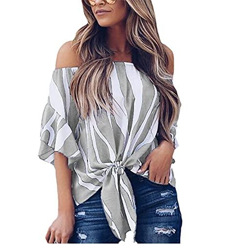 Tops Mujer Elegante Fuera del Hombro Lado De La Hoja De Loto Color Sólido/Rayas Gasa Dobladillo Exquisito Mujer Camisa Casual Temperamento Clásico Retro Transpirable Mujer Blusa G-Gray M