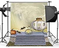 HDビニール7x10ftおとぎ話の不思議の国の背景魅惑の世界の背景カボチャのキャリッジマウスきらめき星空の夜漫画写真背景子供のための誕生日写真スタジオ小道具HXM662