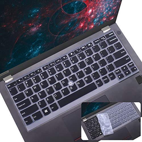 "2Pcs Keyboard Cover for Lenovo Thinkpad L13 X13 Gen 1 2, Thinkpad 370 X380 X390 X395 Yoga, ThinkPad X230S X240 X240S X250 X260 X270 X280 13.3"" Lenovo Thinkpad Laptop Keyboard Cover, Black+Clear"