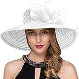 Women Kentucky Derby Church Dress Cloche Hat Fascinator Floral Tea Party Wedding Bucket Hat S052 S062-White
