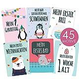 45 Baby Meilenstein-Karten für Jungen und Mädchen mit hochwertiger Verpackung von Cozy Racoon - Meilensteinkarten - Geschenk zur Geburt, Babyparty, Schwangerschaft