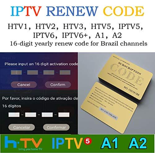IPTV A2 HTV Brazil Brailian TV Box Renew Code Activation Code for A1/A2/ HT /IPTV 5 6, Subscription 16-Digit Renew Code, One Year, Brazilian IPTV TV Box Code