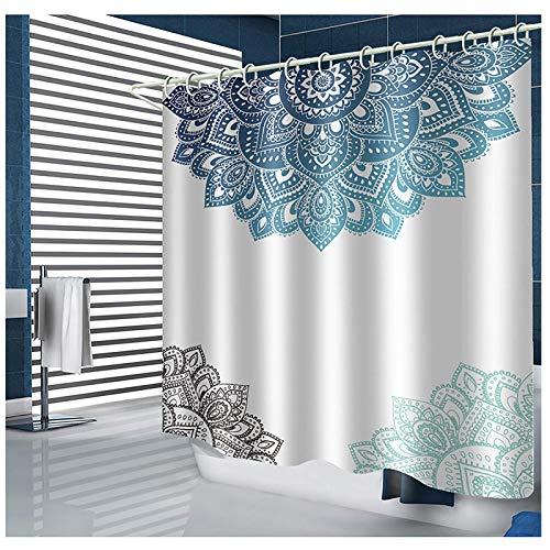 SEVEN HITECH Duschvorhang mit 12 Haken, Mandala-Badevorhang, blau-weißes Blumenmuster, schimmelresistent, Polyester, 180 x 180 cm