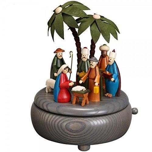Rudolphs Schatzkiste Weihnachtsdekoration Spieldose Geburt Christi bunt BxHxT 13x16x13 cm NEU Spieluhr Spielwerk Musikdose Musik Figur Seiffen Erzgebirge Holz Dekoration Weihnachten