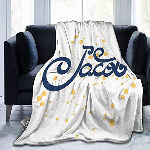 Manta mullida, nombre religioso con diseño de letra de caligrafía moderna, nombre popular del recién nacido, ultra suave, manta para dormitorio, cama, TV, manta para cama de 127 x 101 cm