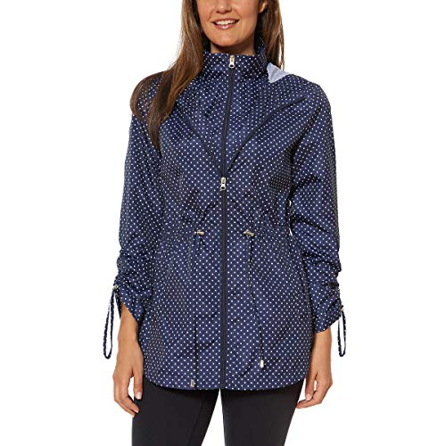 Jones New York Womens Parka in a Pocket Rain Jacket (Navy Mini Dot, Large)