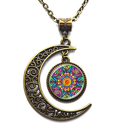 Mandala collar budismo collar hippy collar de joyería budista rueda Mandala collar-#374