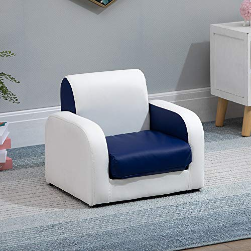 Children 2 in 1 Flip Open Sofa Bed Kids Sofa Chair, Upholstered PU Leather Single Sofa Couch Seat for Children Toddlers, Cushioned Sofa Armchair for Kids Room Playroom Living Room Bedroom