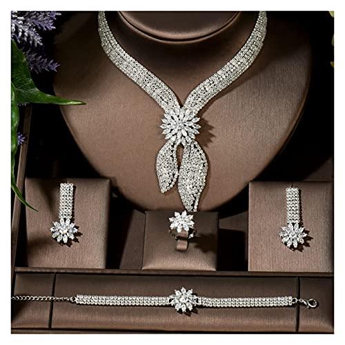 ZCPCS Luxury Big 4PCS Joyería Conjunto con Zirconia Cúbica para Mujeres Accesorios De Boda del Partido De La Mujer Dubai Arabe Saudita (Metal Color : Platinum Plated)