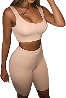 FSSE Women's 2 Pcs Outfits Gym Workout Stretch Crop-Tank-Top Moto Biker Shorts Solid Color Outfits Tracksuits